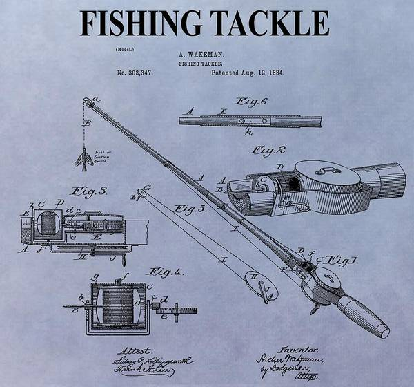 Fishing Pole Digital Art - Fishing Tackle Patent by Dan Sproul