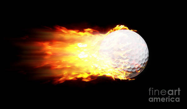 Etched Photograph - Flame Golf Ball by Jorgo Photography - Wall Art Gallery