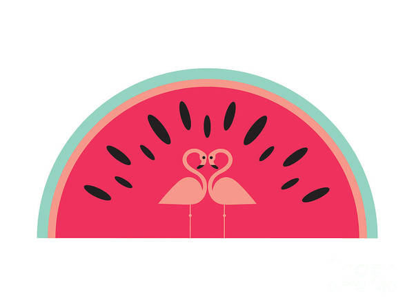 Symmetrical Digital Art - Flamingo Watermelon by MGL Meiklejohn Graphics Licensing