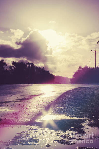 Potholes Wall Art - Photograph - Florescent Road Sunset. Passing Storm Reflection by Jorgo Photography - Wall Art Gallery