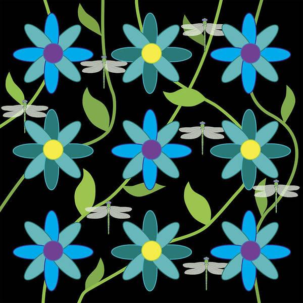 Digital Art - Flower And Dragonfly Design With Black Background by Belinda Greb