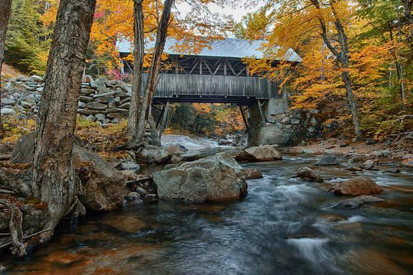New Leaf Photograph - Flume Gorge Covered Bridge by Jeff Folger