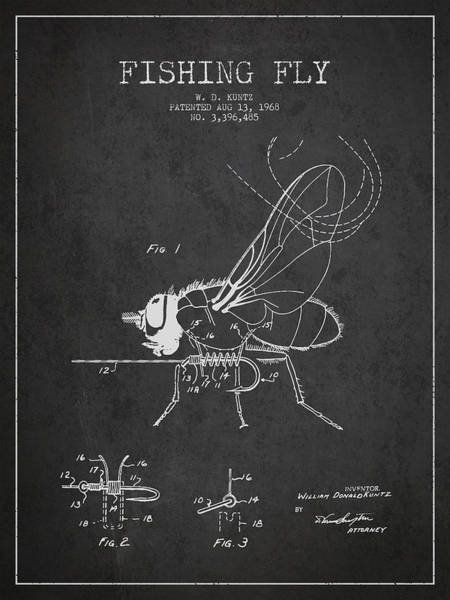Antique Fishing Lures Wall Art - Digital Art - Fishing Fly Patent Drawing From 1968 - Dark by Aged Pixel