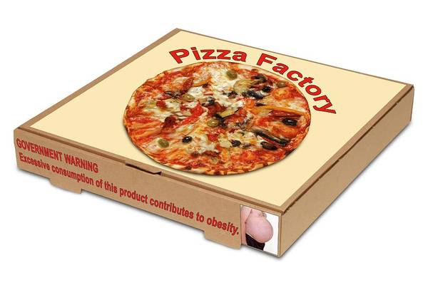 Pizza Photograph - Food Packaging Obesity Warning by Victor De Schwanberg/science Photo Library