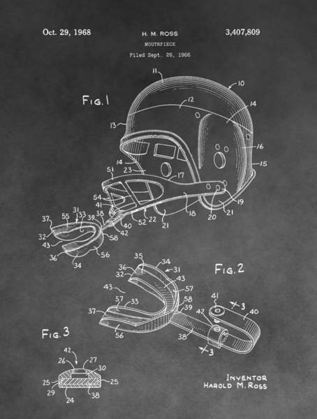 Drawing - Football Helmet Patent by Dan Sproul