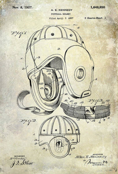 Green Bay Packers Wall Art - Photograph - 1927 Football Helmet Patent by Jon Neidert