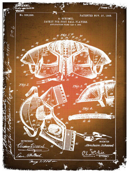 Super Bowl Drawing - Football Shoulder Pads Patent Blueprint Drawing Sepia by Tony Rubino