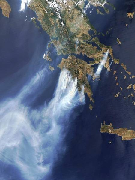 Plume Photograph - Forest Fires by Modis Rapid Response Team/gsfc/nasa/science Photo Library