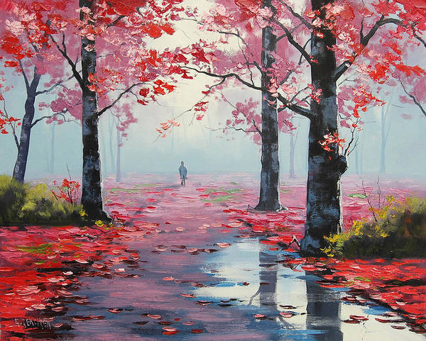 Pink Blossom Painting - Forest Road by Graham Gercken
