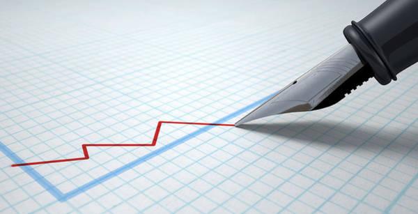 Wall Art - Digital Art - Fountain Pen Drawing Declining Graph by Allan Swart