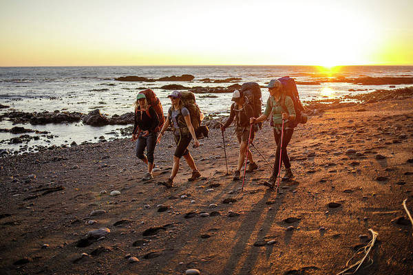 Wall Art - Photograph - Four Female Backpackers Hiking by Michael Okimoto