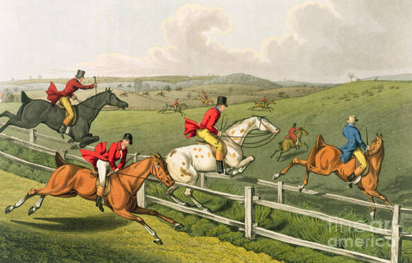 Railing Wall Art - Painting - Fox Hunting by Henry Thomas Alken