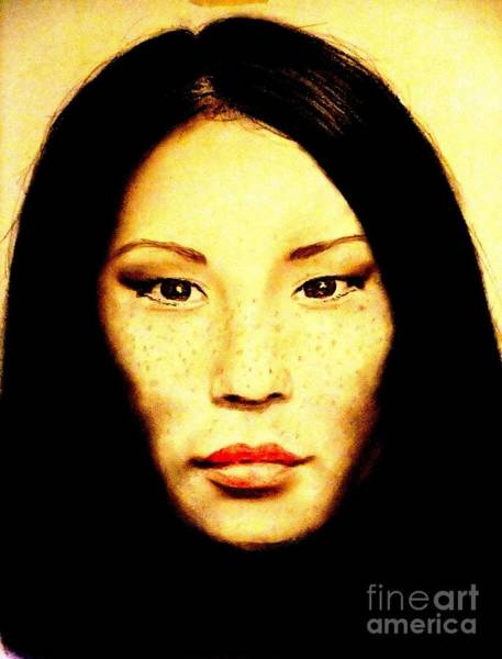 Leading Actress Wall Art - Pastel - Freckle Faced Beauty Lucy Liu  by Jim Fitzpatrick