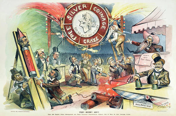 Frederick Morris Painting - Free Silver Cartoon, 1895 by Granger