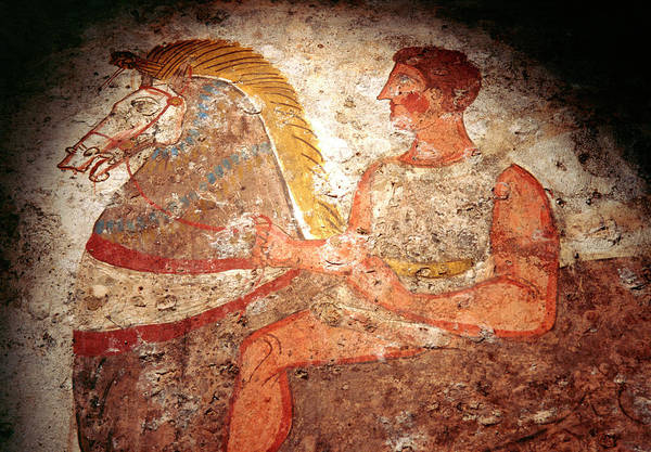 Wall Art - Photograph - Fresco From A Knight's Tomb by Pasquale Sorrentino/science Photo Library