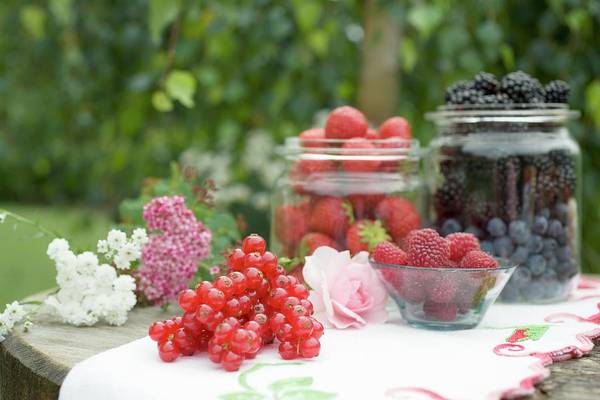Wall Art - Photograph - Fresh Berries On Rustic Table Out Of Doors by Foodcollection