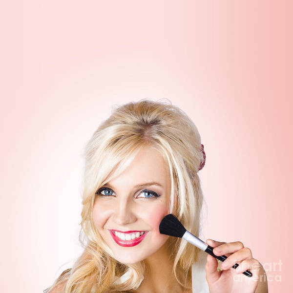 Flawless Photograph - Fresh Faced Makeup Girl With Cosmetic Brush by Jorgo Photography - Wall Art Gallery