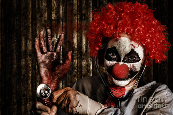 Photograph - Frightening Clown Doctor Holding Amputated Hand  by Jorgo Photography - Wall Art Gallery