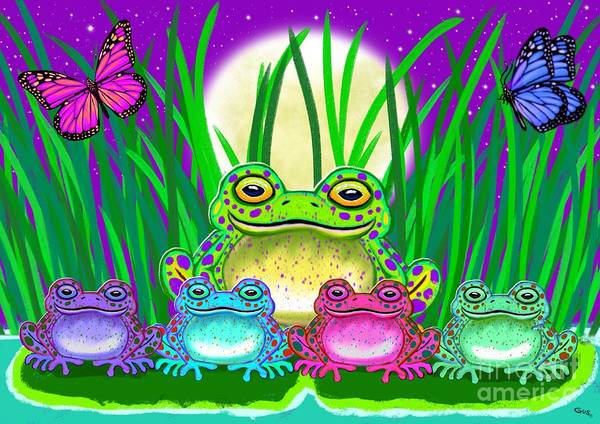 Wall Art - Painting - Frog Family by Nick Gustafson