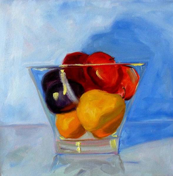 Colored Glass Painting - Fruit Bowl by Nancy Merkle