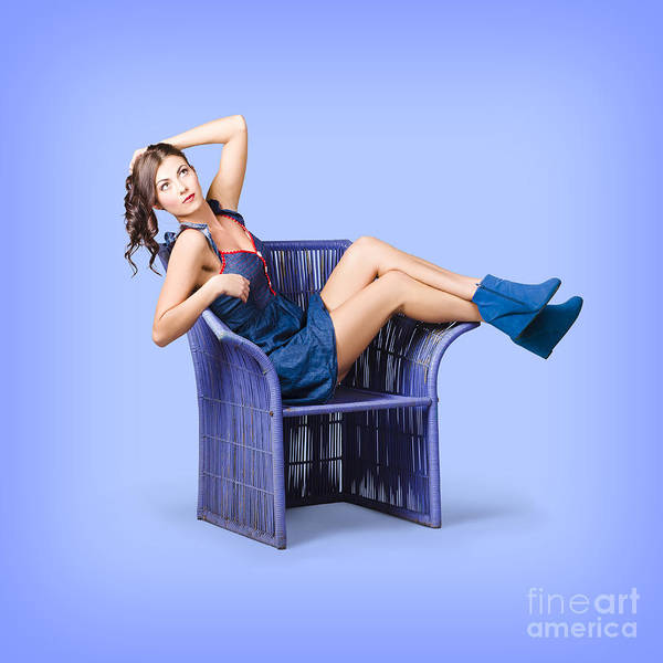 Photograph - Full-length Portrait. Lovely Woman In Denim Dress by Jorgo Photography - Wall Art Gallery