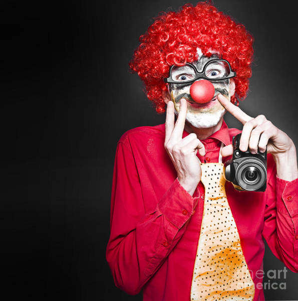 Photograph - Fun Smiling Clown Holding Camera Taking Happy Snap by Jorgo Photography - Wall Art Gallery