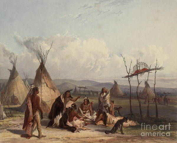 Scaffold Painting - Funeral Scaffold Of A Sioux Chief by Celestial Images