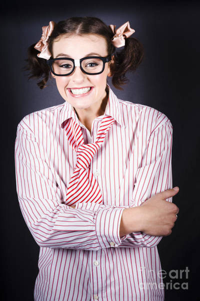 Vivacious Wall Art - Photograph - Funny Female Business Nerd With Big Geeky Smile by Jorgo Photography - Wall Art Gallery