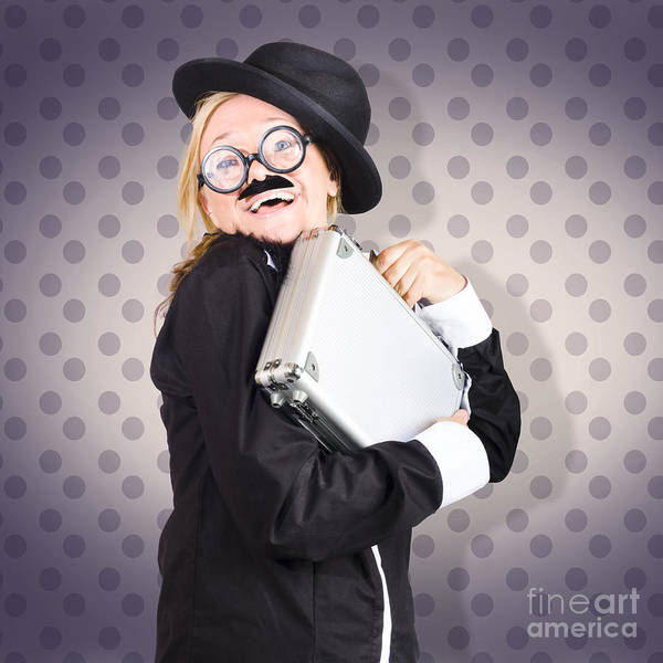 Joyous Photograph - Funny Female Character In Suit Showing Fun At Work by Jorgo Photography - Wall Art Gallery