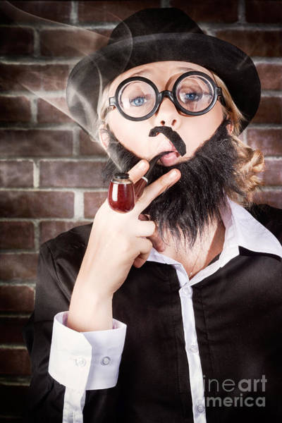 Law School Wall Art - Photograph - Funny Private Eye Detective Smoking Pipe by Jorgo Photography - Wall Art Gallery