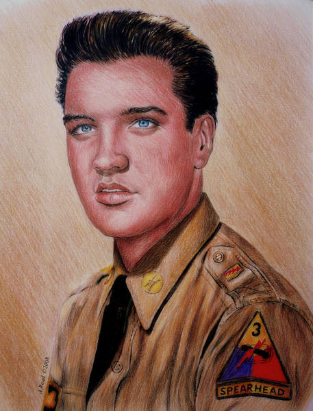 Nostalgia Drawing - G I Elvis  by Andrew Read