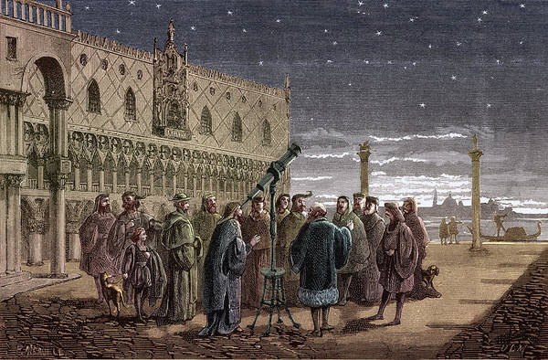 Colorization Photograph - Galileo Demonstrates Telescope, 1609 by Science Source
