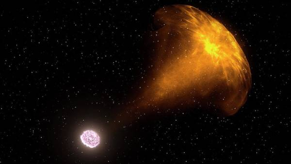 First Star Photograph - Gamma Ray Burst From Colliding Neutron Stars by Nasa's Goddard Space Flight Center/ci Lab/science Photo Library
