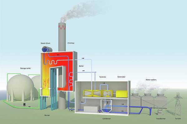 Boiler Photograph - Gas-fired Power Station by Science Photo Library