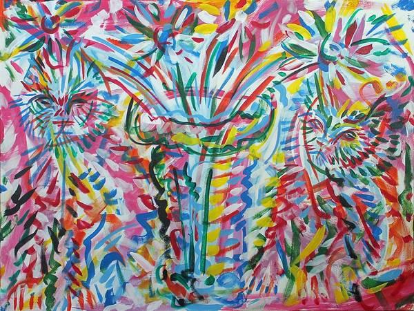 Ranchera Wall Art - Painting - Gatos Y Vas Con Flores by Jimmy Longoria