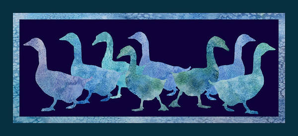 Elegant Mixed Media - Geese Batik by Jenny Armitage