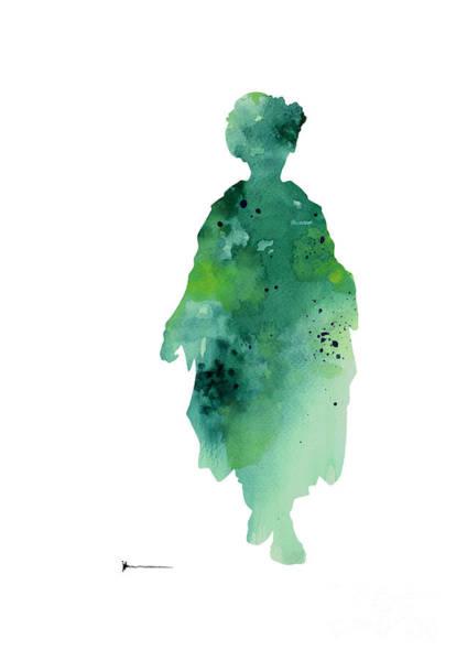 Geisha Mixed Media - Geisha Kimono Silhouette Watercolor Art Print Painting by Joanna Szmerdt