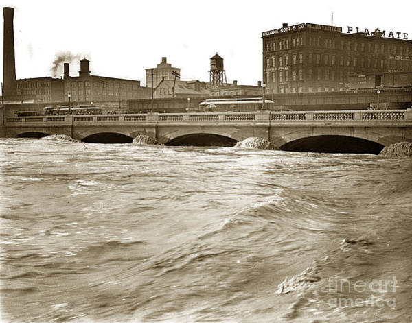 Photograph - Genesee River Rochester New York State  At Flood Stage Circa 1904 by California Views Archives Mr Pat Hathaway Archives