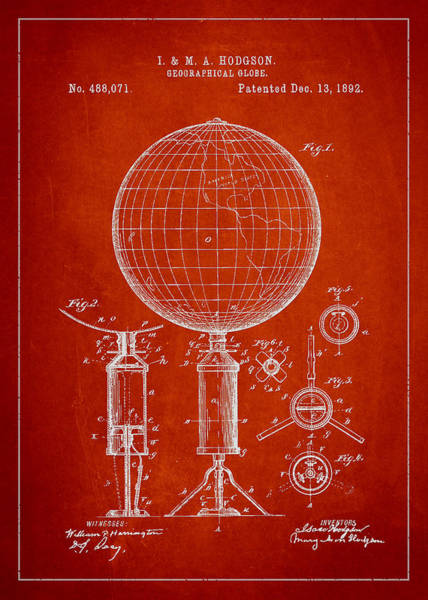 Red Planet Digital Art - Geographical Globe Patent Drawing From 1892 by Aged Pixel