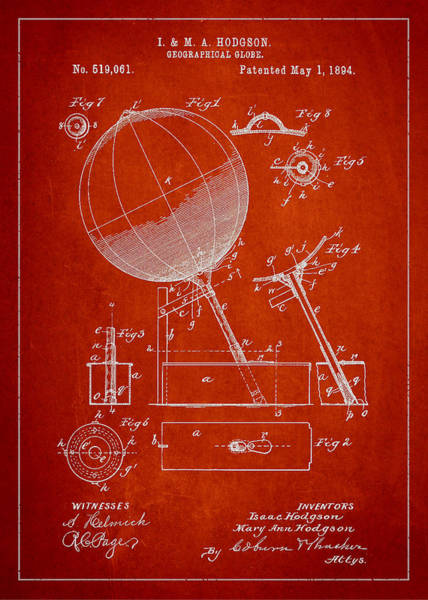 Red Planet Digital Art - Geographical Globe Patent Drawing From 1894 by Aged Pixel