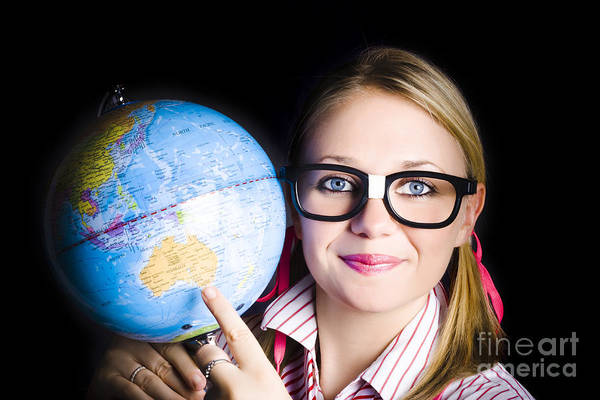 Intellectual Photograph - Geography School Student Learning About World by Jorgo Photography - Wall Art Gallery