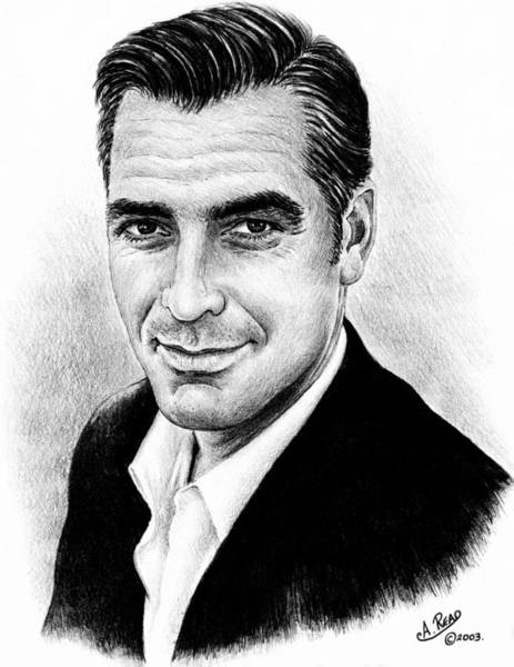 Handsome Drawing - George Clooney by Andrew Read