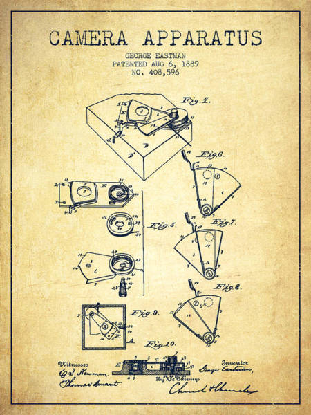 Lens Digital Art - George Eastman Camera Apparatus Patent From 1889 - Vintage by Aged Pixel