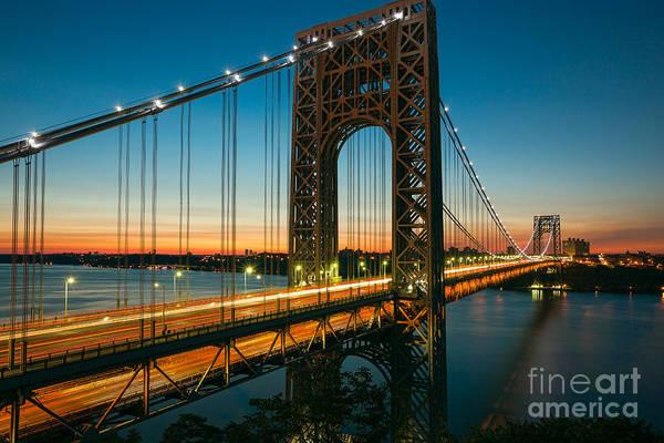 Photograph - George Washington Bridge Morning Twilight IIi by Clarence Holmes