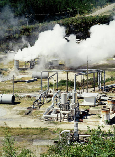 Geothermal Photograph - Geothermal Power Station by Steve Allen/science Photo Library