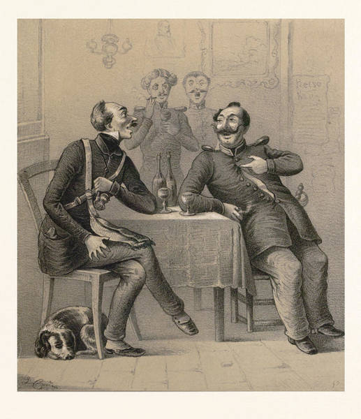 Caucasian Drawing - German Military Drinking A Glass Of Wine by German School
