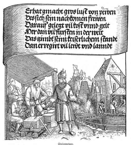 Wall Art - Drawing - German Stone-masons Of The 16th Century by Mary Evans Picture Library