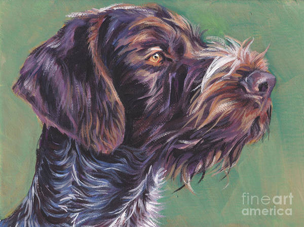 German Pointer Painting - German Wirehaired Pointer by Lee Ann Shepard