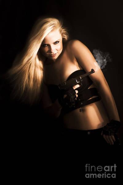 Blonde Photograph - Girl Holding Smoking Gun by Jorgo Photography - Wall Art Gallery