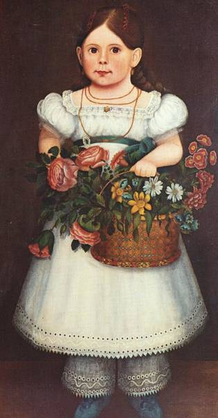 Circa Painting - Girl With Basket Of Flowers by Artist Unknown